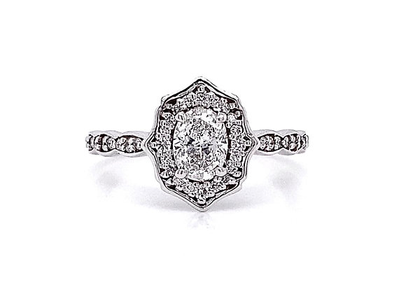 14kt White Gold 0.71ctw Oval Cut & Round Diamond Halo Ring