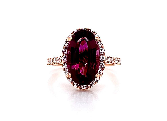 14kt Rose Gold 5.00ctw Amethyst Gemstone and Diamond Halo Ring