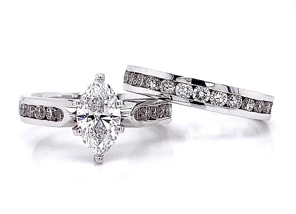 14kt White Gold 2.19ctw Marquise Cut & Round Diamond Wedding Set