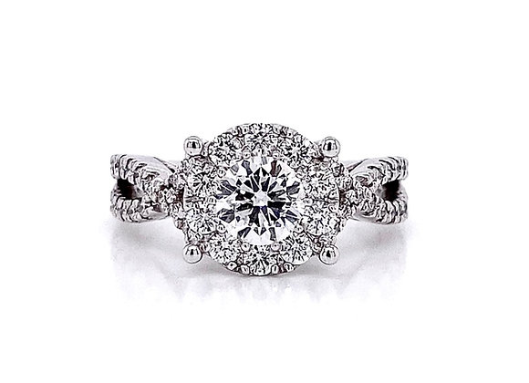 14kt White Gold 1.38ctw Round Diamond Halo Swirl Ring