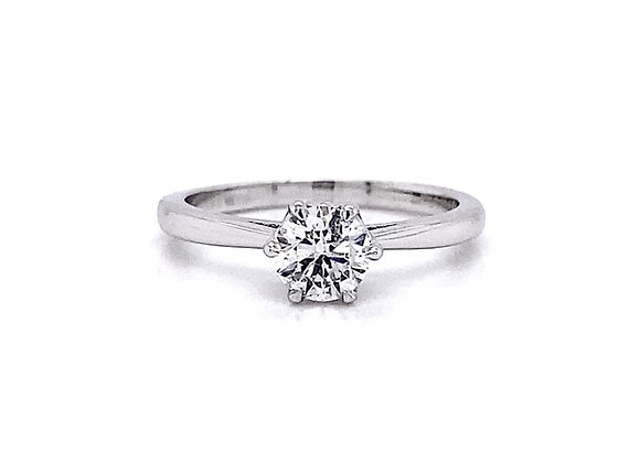 14kt White Gold 0.57ct Round Diamond Solitaire Ring