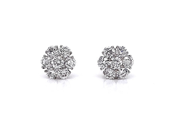 14kt White Gold 1.59ctw Round Diamond Cluster Stud Earrings
