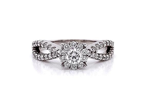 14kt White Gold 0.66ctw Round Diamond Halo Swirl Ring