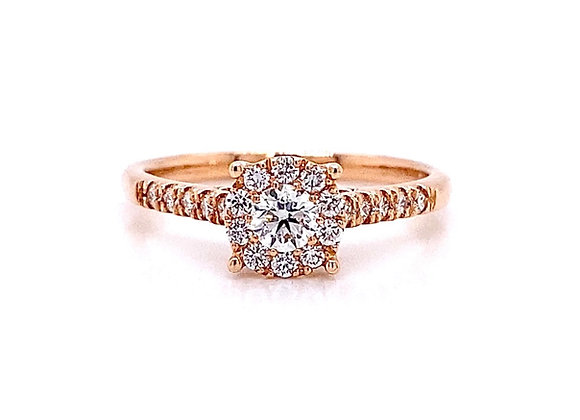 14kt Rose Gold 0.45ctw Round Diamond Halo Ring