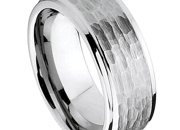 Gray Tungsten Hammered Gents Band