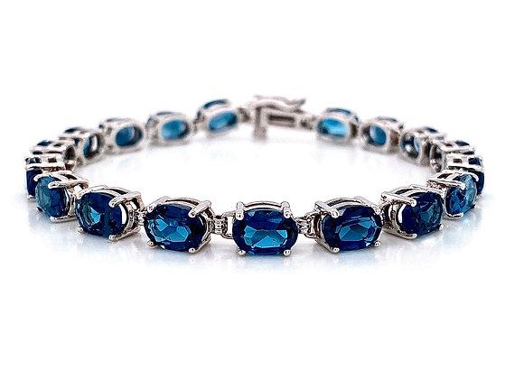 14kt White Gold 16.38ctw Oval Blue Topaz Gemstone Bracelet
