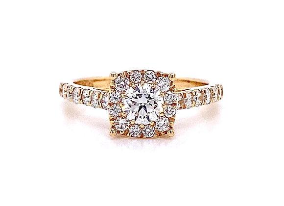 14kt Yellow Gold 0.97ctw Round Diamond Halo Ring