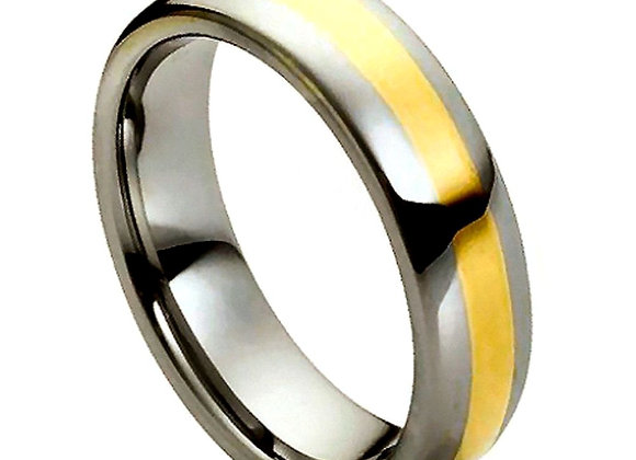 Gray Tungsten High Polished Gents Band With Yellow Accents