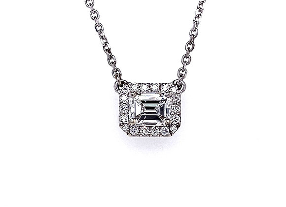 14kt White Gold Ladies 0.82ct Emerald Cut Diamond Halo Pendant