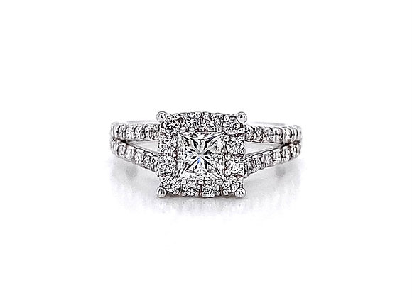 14kt White Gold 1.08ctw Princess Cut and Round Diamond Halo Ring