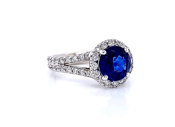 14kt White Gold 2.43ctw Sapphire Gemstone and Round Diamond Halo Ring