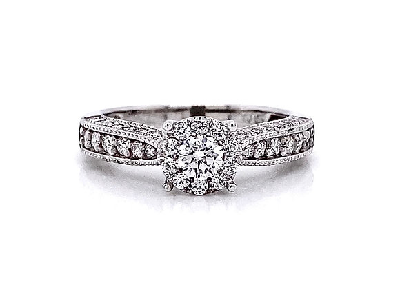 14kt White Gold 0.71ctw Round Diamond Halo Ring