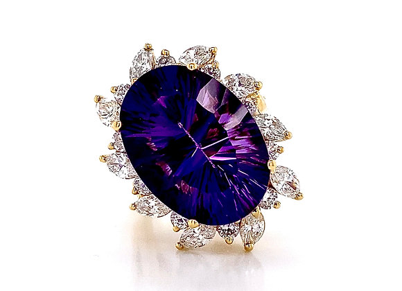 14kt Yellow Gold 12.74ctw Amethyst Gemstone and Diamond Cocktail Ring