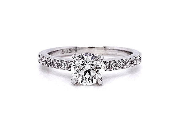 14kt White Gold 1.06ctw Round Diamond Side Stone Ring