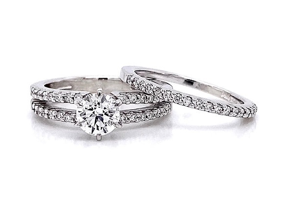 14kt White Gold 1.13ctw Round Diamond Wedding Set