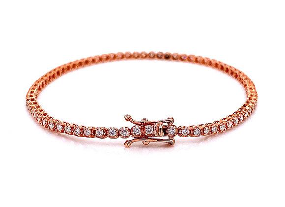14kt Rose Gold 1.33ctw Round Diamond Bracelet