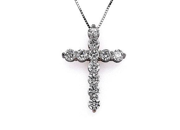 14kt White Gold 1.94ctw Round Diamond Cross Pendant