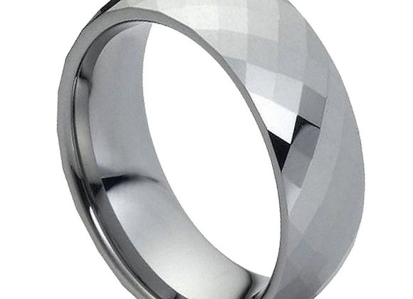Gray Tungsten Domed Faceted Gents Band