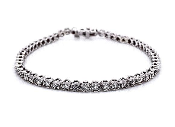 14kt White Gold 2.17ctw Round Diamond Tennis Bracelet