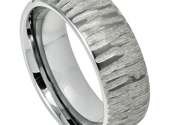 Gray Tungsten Carved Gents Band