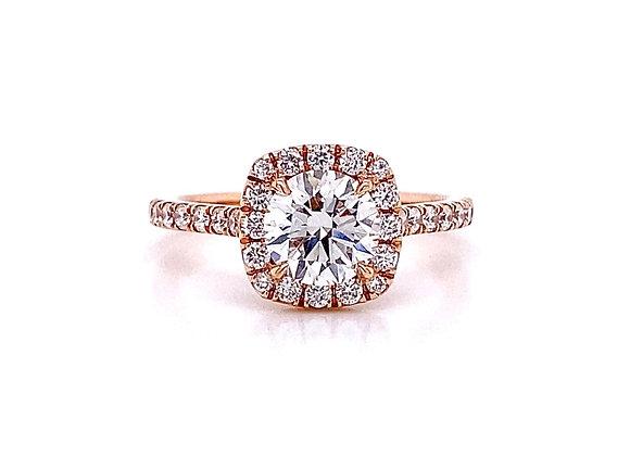 14kt Rose Gold 1.37ctw Round Diamond Halo Ring