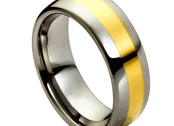 Gray Tungsten Gents Band With Yellow Accents