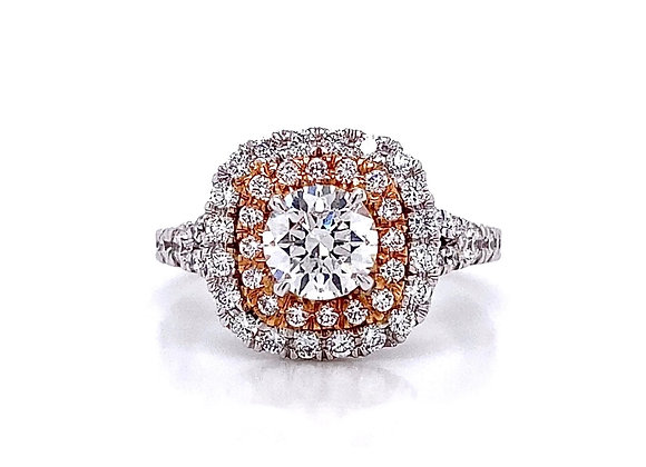 14kt Two-Tone 1.53ctw Round Diamond Double Halo Ring
