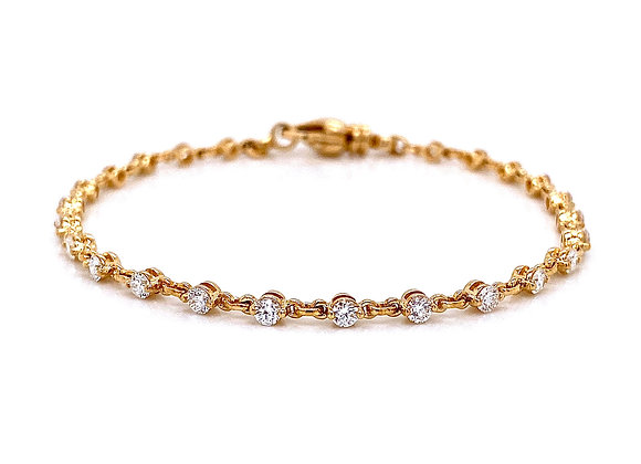 14kt Yellow Gold 1.37ctw Round Diamond Bracelet