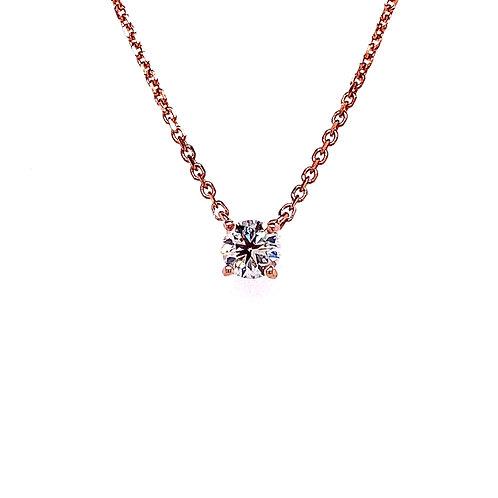 14kt Rose Gold Ladies 0.30ct Round Diamond Solitaire Pendant