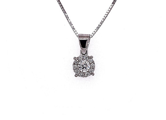 14kt White Gold 0.30ctw Round Diamond Halo Pendant