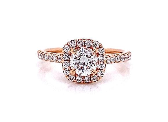14kt Rose Gold 1.10ctw Round Diamond Halo Ring