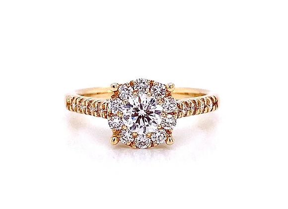 14kt Yellow Gold 0.81ctw Round Diamond Halo Ring