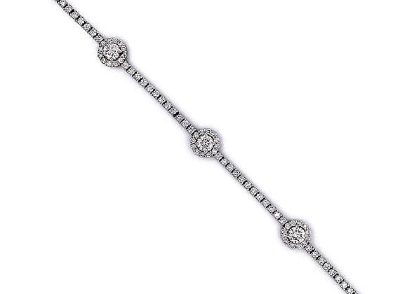 18kt White Gold Ladies 3.18ctw Round Diamond Mini Halo Bracelet