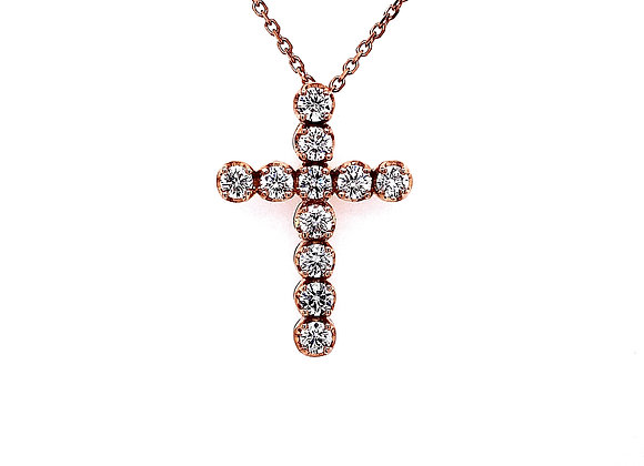 14kt Rose Gold 1.85ctw Round Diamond Cross Pendant