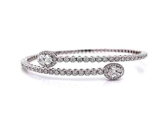 14kt White Gold 2.20ctw Oval Cut and Round Diamond Bracelet