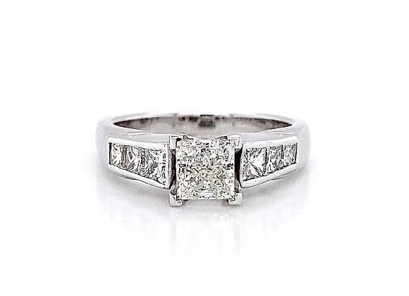 14kt White Gold 1.72ctw Princess Cut Diamond Side Stone Ring