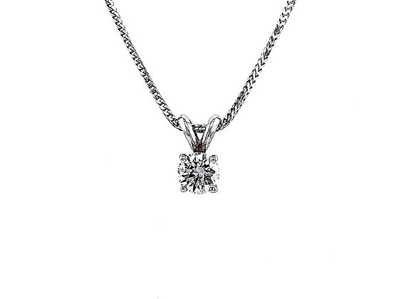 14kt White Gold 0.51ct Round Diamond Solitaire Pendant