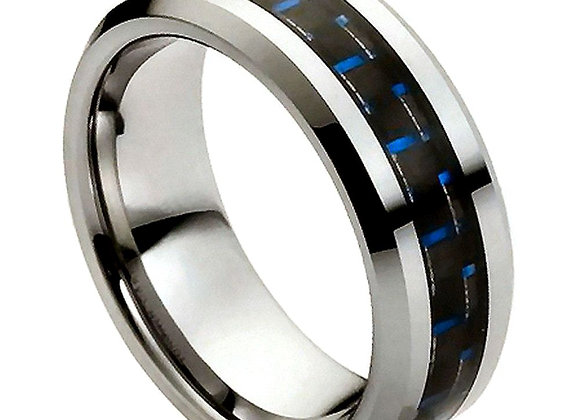 Gray & Black Tungsten Carbon Fiber Gents Band