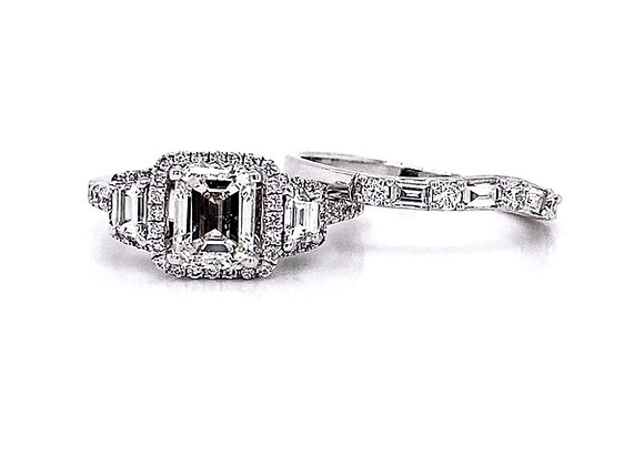 14kt White Gold 1.80ctw Emerald Cut & Trapezoid Cut Diamond Tri-Halo Wedding Set
