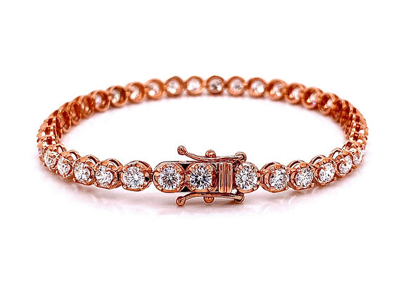 14kt Rose Gold 6.25ctw Round Diamond Tennis Bracelet
