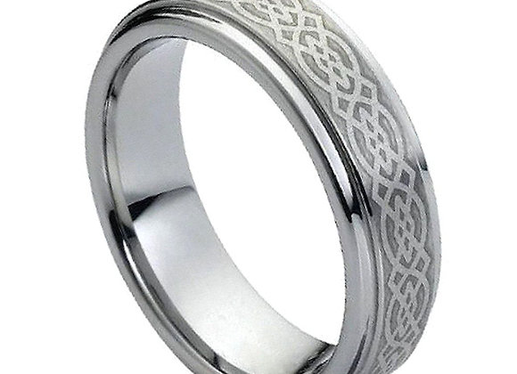 Gray Tungsten Celtic Gents Band With Brushed Accents