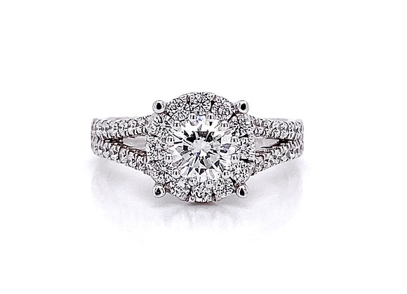 14kt White Gold 1.38ctw Round Diamond Halo Ring