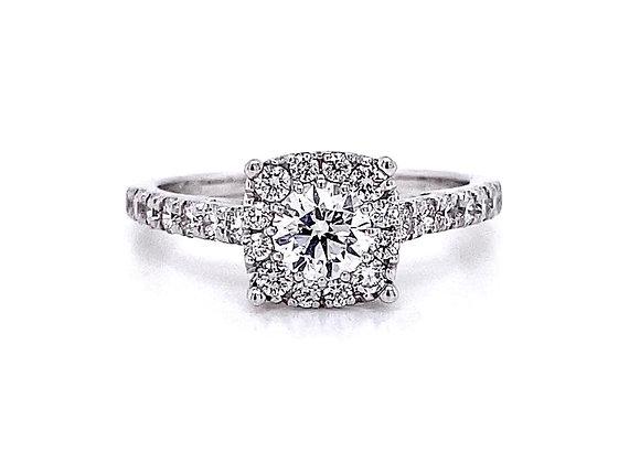 14kt White Gold 0.96ctw Round Diamond Halo Ring