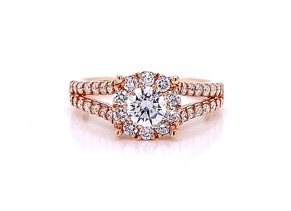 14kt Rose Gold 1.00ctw Round Diamond Halo Ring