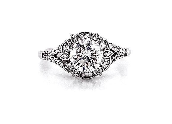 14kt White Gold 1.21ctw Round Diamond Vintage Style Halo Ring
