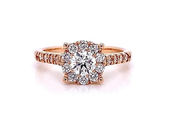 14kt Rose Gold 0.88ctw Round Diamond Halo Ring