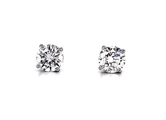 14kt White Gold 2.00ctw Round Diamond Stud Earrings