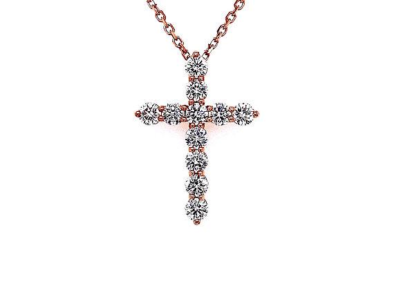 14kt Rose Gold 1.74ctw Round Diamond Cross Pendant