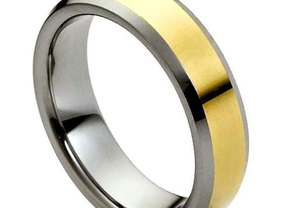Gray Tungsten Polished Gents Band With Yellow Accents
