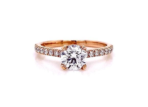 14kt Rose Gold 0.91ctw Round Diamond Side Stone Ring